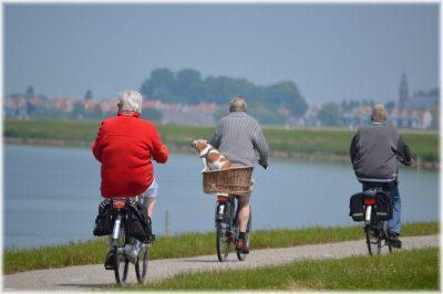 vyrai-vaziuoja-dviraciu